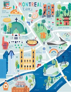 The cutest illustrated map of Montreal. Where would you want your apartment drawn? Montreal Map, Voyage Montreal, Quebec Montreal, Montreal Travel, Montreal Ville, Quebec City, Montreal Vacation, Travel Maps, Travel Posters