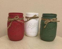 Santa Claus and Snowman Mason Jars Holiday by RebekahCreations