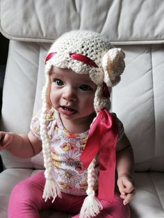 Braided Crochet Flower Hat with Ribbon  by LittleBayBlueDesigns