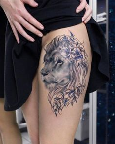 Beautiful lion tattoo by Anna Yershova