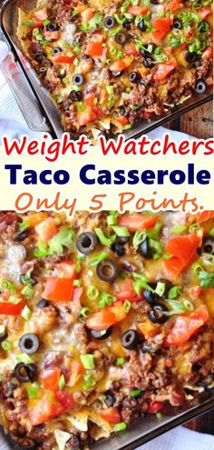 This Weight Watchers Taco Casserole – Only 5 Points. This taco casserole recipe just uses a handful of ingredients and it's a huge hit with the family! This taco casserole makes taco night so fun and festive! Weight Watchers Menu, Weight Watchers Casserole, Weight Watcher Dinners, Weight Watchers Taco Salad Recipe, Weight Watcher Recipes Easy, Weight Watchers Enchiladas, Weight Watchers Recipes With Smartpoints, Weight Watchers Freezer Meals, Weightwatchers Recipes