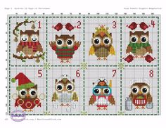 Coruja Natal 1#2 Cross Stitch Owl, Cross Stitch Bookmarks, Cross Stitch Animals, Cross Stitching, Cross Stitch Embroidery, Cross Stitch Patterns, Crochet Square Patterns, Crochet Diagram, Christmas Tree Ornaments To Make
