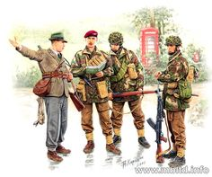 This set includes the figures of 3 British Paratroopers with a variety of weapons, and a civilian giving directions. Description from dragonmodelsusa.com. I searched for this on bing.com/images British Army Uniform, British Uniforms, Ww2 Uniforms, British Soldier, Commonwealth, Military Art, Military History, War Tattoo, British Armed Forces