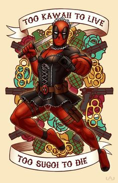 #Deadpool #Fan #Art. (Too Kawaii to Live Too Sugoi to Die) By: Red-Flare. (THE * 3 * STÅR * ÅWARD OF: AW YEAH, IT'S MAJOR ÅWESOMENESS!!!™) [THANK U 4 PINNING!!!<·><]<©>ÅÅÅ+(OB4E)