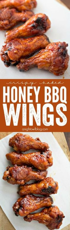 These homemade Crispy Baked Honey BBQ Wings are so easy to make and perfect for game day! If the kiddos don't like wings you can use this delicious sauce on tenders! So yummy and perfect for a quick dinner on those busy weeknights.