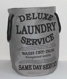 Wäschesack Wäschebeutel Wäsche Aufbewahrungsbox Deluxe Laundry Style 033 in grau Stoff Leinen Used Look ca. 60 Liter: Amazon.de: Küche & Hau...