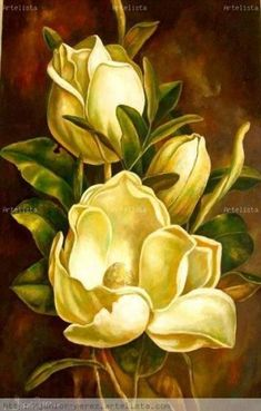 Art Floral, Floral Drawing, Acrylic Painting Flowers, Fabric Painting, Watercolor Flowers, Big Flowers, Beautiful Flowers, Magnolia Pictures, Tole Painting Patterns