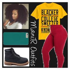 """""""Blacker The College Sweeter The Knowledge❤️"""" by queen-peaches ❤ liked on Polyvore featuring Timberland"""