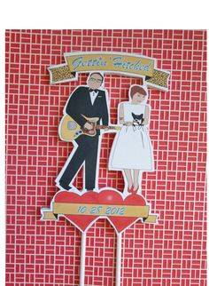 Custom Wedding Cake TopperRetro Bride and Groom by ThePixelette, $42.00