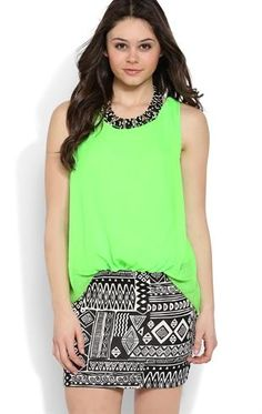 Deb Shops Blouson Dress with Banded Tribal Bottom $26.25
