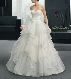 Sweetheart A-Line Organza bride Dress Ivory Bridal Gown Strapless Wedding Dresses custom plus size
