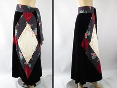 1970s Chessa Davis BoHo Long Skirt Black by alleycatsvintage