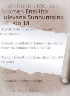 Shamitabh-elokuvan Suomen ensi-ilta tulevana sunnuntaina 8.2. klo 18