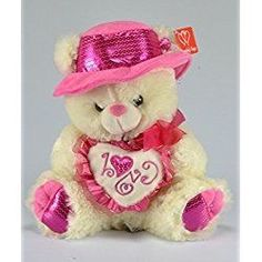 Valentines Day Plush Musical Teddy Bear with Pink Hat and Pink Heart - Ivory Bear, 12 Inches Teddy Bear Images, Bear Valentines, Pink Hat, Sister Birthday, Cute Toys, Surprise Gifts, Smiley, Bff, Plush