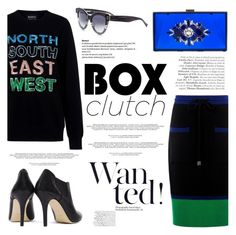 """""""Pretty Box Clutches"""" by ifchic ❤ liked on Polyvore featuring Markus Lupfer, Noir, Dee Keller, women's clothing, women's fashion, women, female, woman, misses and juniors"""