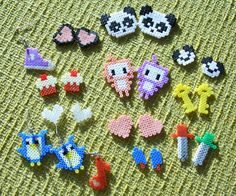 hama/perler bead or cross stitch design ideas -  earrings, rings, jewelry, charms, hair clips, cards...