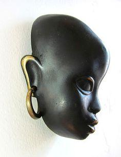 Werkstätte Hagenauer Wien Bronze African Woman Bust Wall Mask