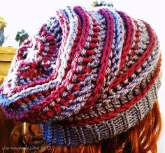 Crochet: HAT. Free crochet pattern – The Harper slouch. Try it in one color, maybe a blue or green!