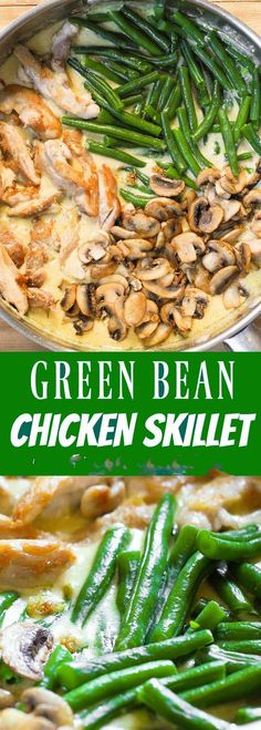Green Bean Chicken Skillet with Mushrooms greenbeans chicken ;casserole spaghetti casseroles easy casseroles freezable casseroles healthy casseroles califlower casseroles make casseroles casseroles recipes Creamy Sauce For Chicken, Skillet Chicken, Chicken With Pesto, Food Dishes, Main Dishes, Greens Recipe, One Pot Meals, One Skillet Meals, One Skillet Recipe