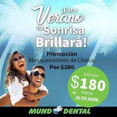 Que tu sonrisa brille tanto como éste sol de verano! Porque el verano es para brillar decidimos que el Blanqueamiento de Clínica no te costará $380 como lo hace regularmente sino que hasta el 30 de Abril podrás aplicártelo por solo $180. Aprovecha y agenda tu cita en nuestra sucursal #ElDorado y #Multicentro  . #Promo #Rebaja #Verano #DentistaEnPanama #DescuentosPanama #MundoDentalPty