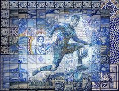 Cristiano Ronaldo: O orgulho de Portugal  Mosaic portrait of Cristiano Ronaldo by Charis Tsevis. http://www.tsevis.com A study on traditional tile painting (azulejo).  Azulejo, azulegos portugueses, Lisbon, Portugal, Real Madrid, Cristiano Ronaldo, sportssoccer, football, athlete, illustration, portrait, poster, mosaic, tiles, pattern, photomosaic, wall painting, mural, graphic design, christianity, folk culture, pop cult