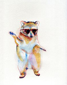 Cool Coon #illustration #watercolor #raccoon #sunglasses #animal #summer #spring