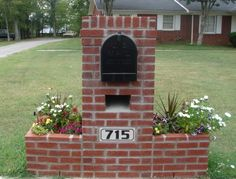 Concord-Custom made mailboxes to look like your home place or thing. made from brick-stone-concrete, Brick Projects, Outdoor Projects, Outdoor Decor, Outdoor Ideas, Backyard Ideas, Diy Projects, Mailbox Landscaping, Landscaping Ideas, Brick Mailbox