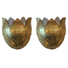 Pair of Large Brass and Aluminum Sconces | From a unique collection of antique and modern wall lights and sconces at http://www.1stdibs.com/furniture/lighting/sconces-wall-lights/