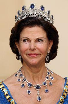 Queen Silvia of Sweden wearing the Leuchtenberg Sapphire parure tiara