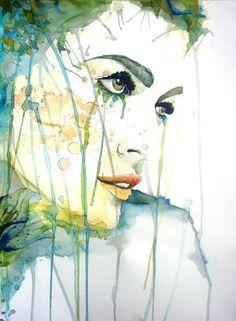 Mujer con flores  Acuarela Original  Ilustración  por ARilustracion, €85.00