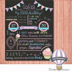 SHABBY CHIC Girly First Birthday Chalkboard by LilDreamsDesign