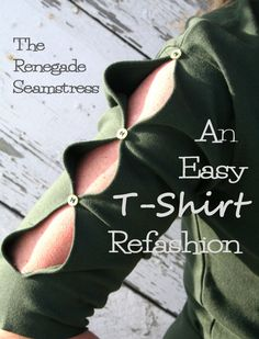 Learn how to refashion an old thrift store t shirt into a fresh new shirt with cut out sleeves at The Renegade Seamstress.