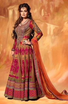 Glorious Beige and Deep Orange Salwar Set @ http://www.indiandesignershop.com/product/glorious-beige-and-deep-orange-salwar-set/