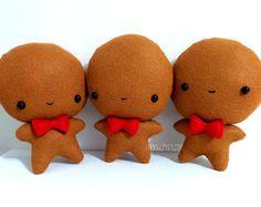 Cute Gingerbread Man Stuffed Toy - Handmade Plush - Felt Gingerbread Man - Christmas Decor .