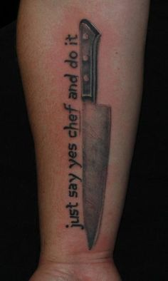 tattoo pics chef knife and garlic | Chef knife