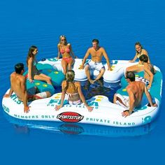 The Fiesta Private Island has room for 8 people with cup holders all around and a comfortable mesh bottom surface to keep you cool while you're relaxing. Sit on the mesh to enjoy the contoured backrests in the water, or sit on the floating platform portion and just let your toes go for a dip. #SkyMall #Pool #Lake #Float
