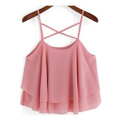 SheIn(sheinside) Pink Spaghetti Strap Loose Chiffon Cami Top (12 AUD) ❤ liked on Polyvore