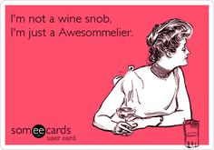 Free and Funny Baby Ecard: I'm not a wine snob, I'm just a Awesommelier. Create and send your own custom Baby ecard. Wine Puns, Wine Meme, Wine Funnies, Funny Wine, Lets Get Drunk, Getting Drunk, Sarcastic Quotes, Funny Quotes, Humor Quotes