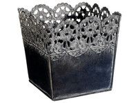 """Decorative Tin Floral Container in Gray with Lace Design.jpg  Square Laced Tin Floral Container in Gray 5.9"""" Long x 5.9"""" Wide x 5.9"""" Tall  SLK-ACT244-GY $6.89.  Can spray with Metallic gold paint."""