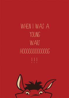 "The Lion King - ""Hakuna Matata""  Pumba had a nice little solo. #lyrics #Disney #red #poster"