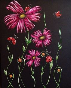 Flowers and ladybugs. Scratchboard. 8x10. Not for sale. 2013.