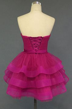 Ball Gown Sweetheart Lace-up Rosy Short Homecoming/Prom Dress With Beading