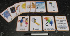 Phase 2 OR 3 Colour coded Initial Sounds Missing Letters Flash Cards 10cm x 7cm