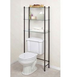 Add another organizational option to your bathroom with this Free Standing Bathroom Shelf. This three tier glass shelf can easily fit over your toilet while still giving you three shelves with of storage. The frame of this bathroom shelf is made of durable steel while the shelves are made with strong tempered glass.