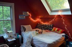 cozy bedroom, love the lights