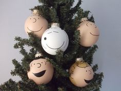 Peanuts Gang Painted Christmas Ornament Set of 5 -Charlie Brown, Snoopy, Lucy, Linus, Sally on Etsy, $50.00