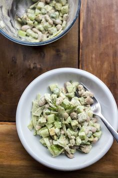 cucumber, avocado + white bean salad