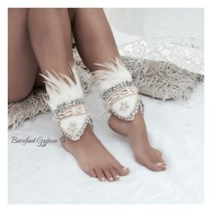 Boho gypsy chic ankle cuffs with feathers. Avail at https://www.etsy.com/shop/BarefootGypseaMelb?ref=ss_profile