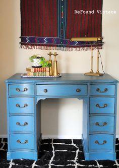 pigeon blue desk by farmhouse paint with teastain