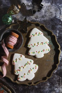 Decorated Christmas Tree Cookies with Bakers Royale